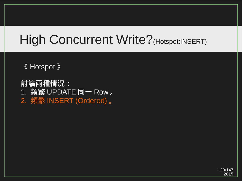 120/147 2015 High Concurrent Write?(Hotspot:INS...
