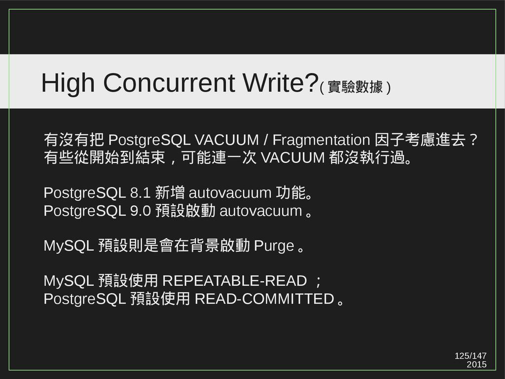 125/147 2015 High Concurrent Write?( 實驗數據 ) 有沒有...