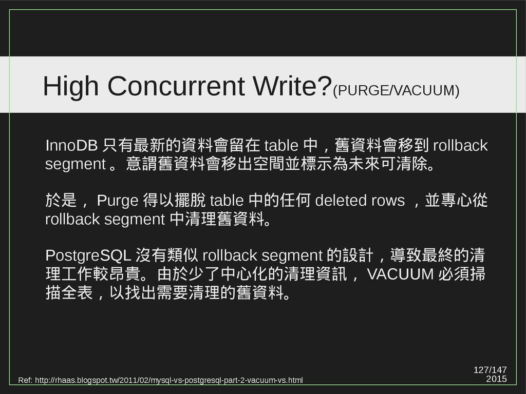 127/147 2015 High Concurrent Write?(PURGE/VACUU...