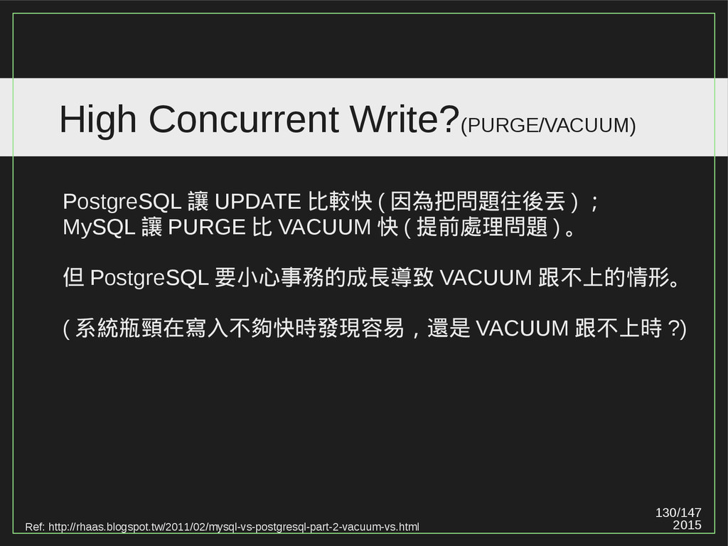 130/147 2015 High Concurrent Write?(PURGE/VACUU...