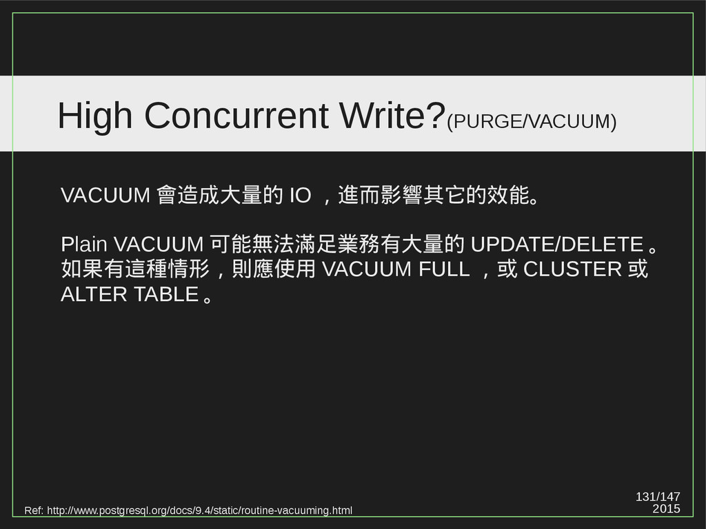 131/147 2015 High Concurrent Write?(PURGE/VACUU...