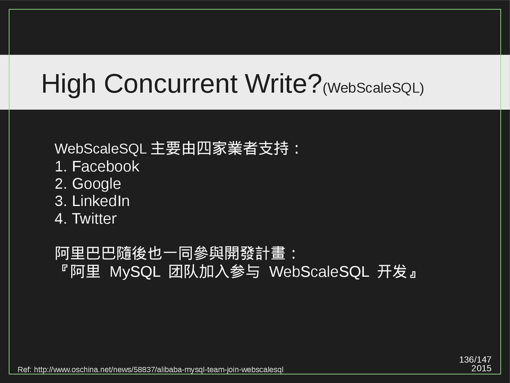 136/147 2015 High Concurrent Write?(WebScaleSQL...