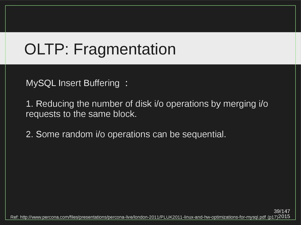 39/147 2015 OLTP: Fragmentation Ref: http://www...