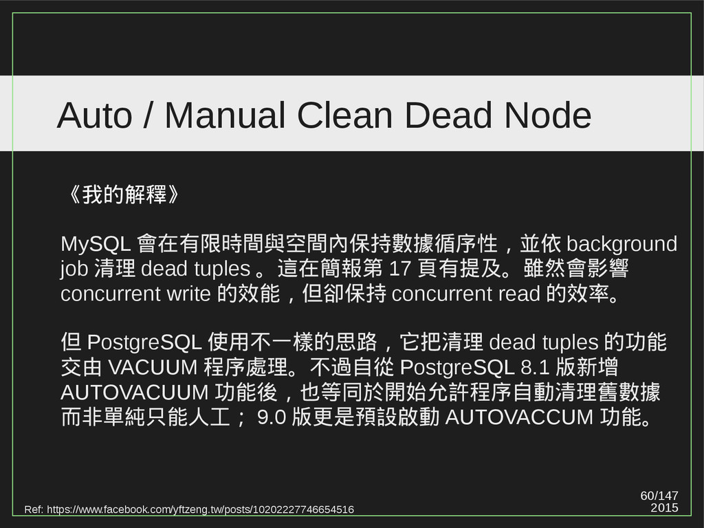 60/147 2015 Auto / Manual Clean Dead Node Ref: ...