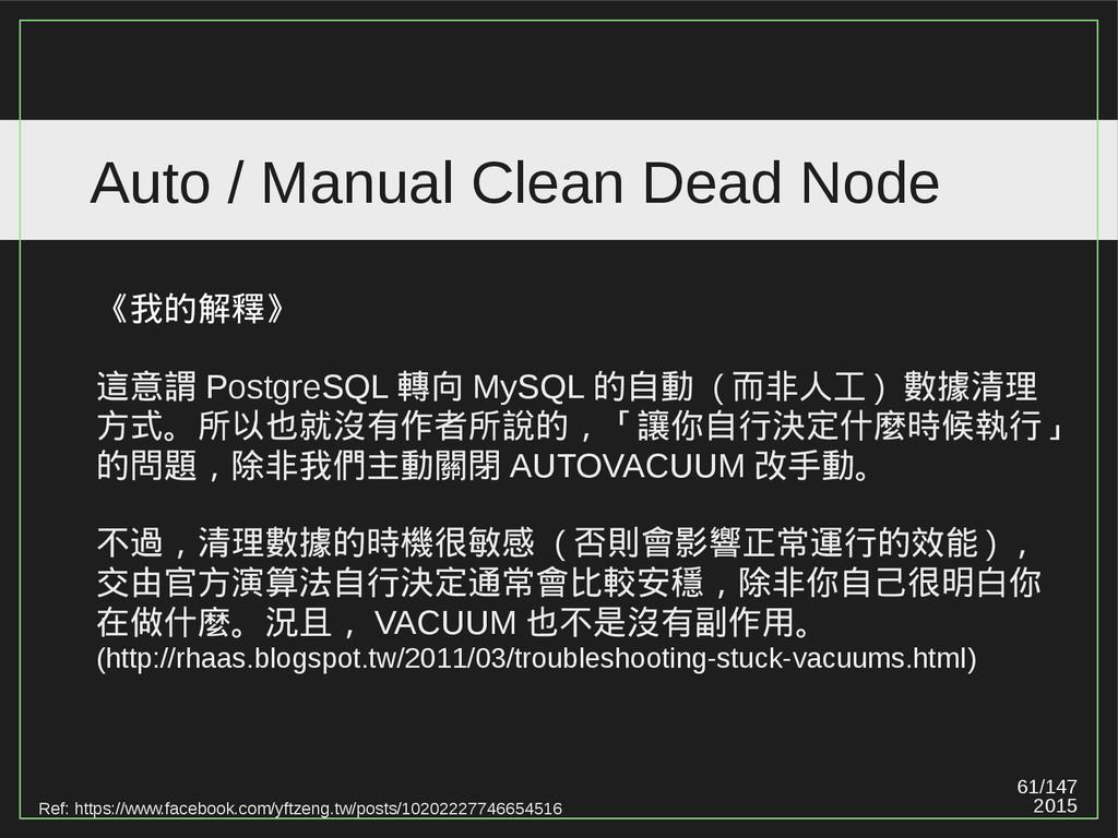 61/147 2015 Auto / Manual Clean Dead Node Ref: ...