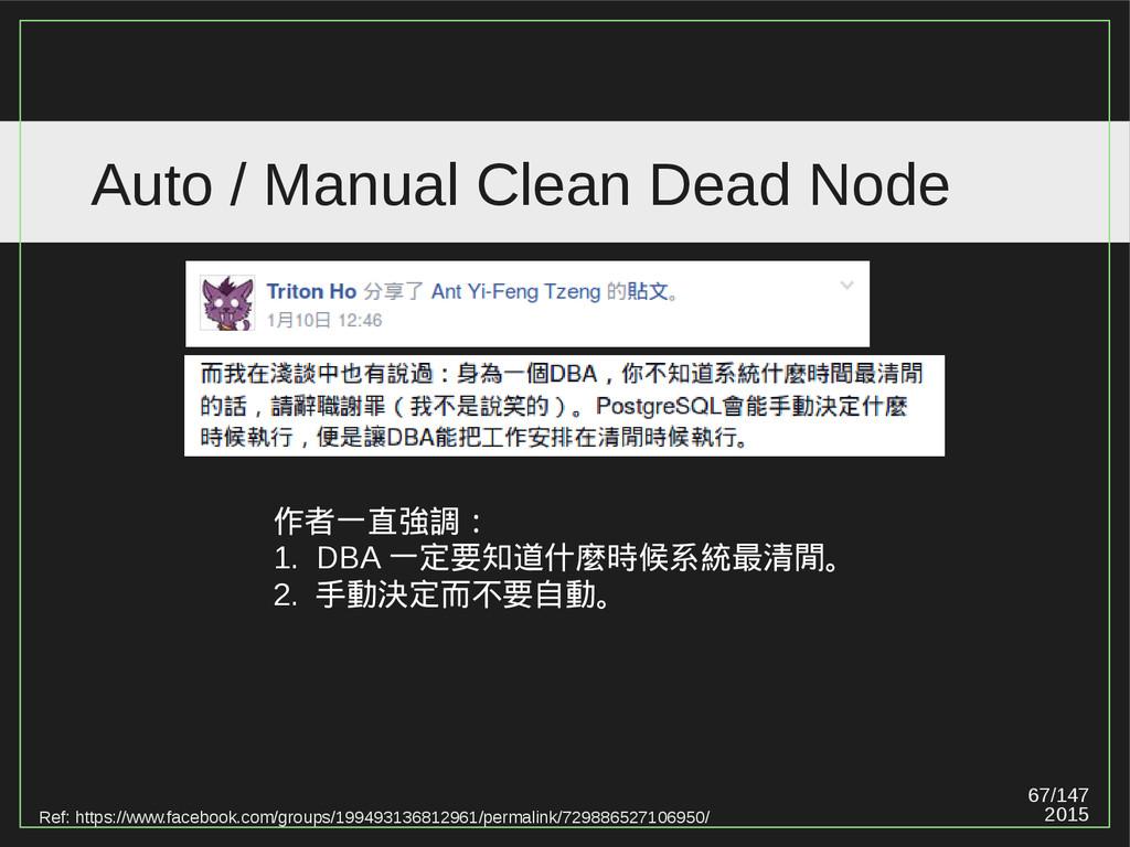 67/147 2015 Auto / Manual Clean Dead Node Ref: ...