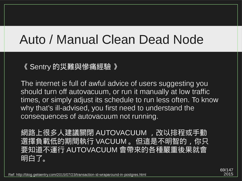 69/147 2015 Auto / Manual Clean Dead Node 《 Sen...