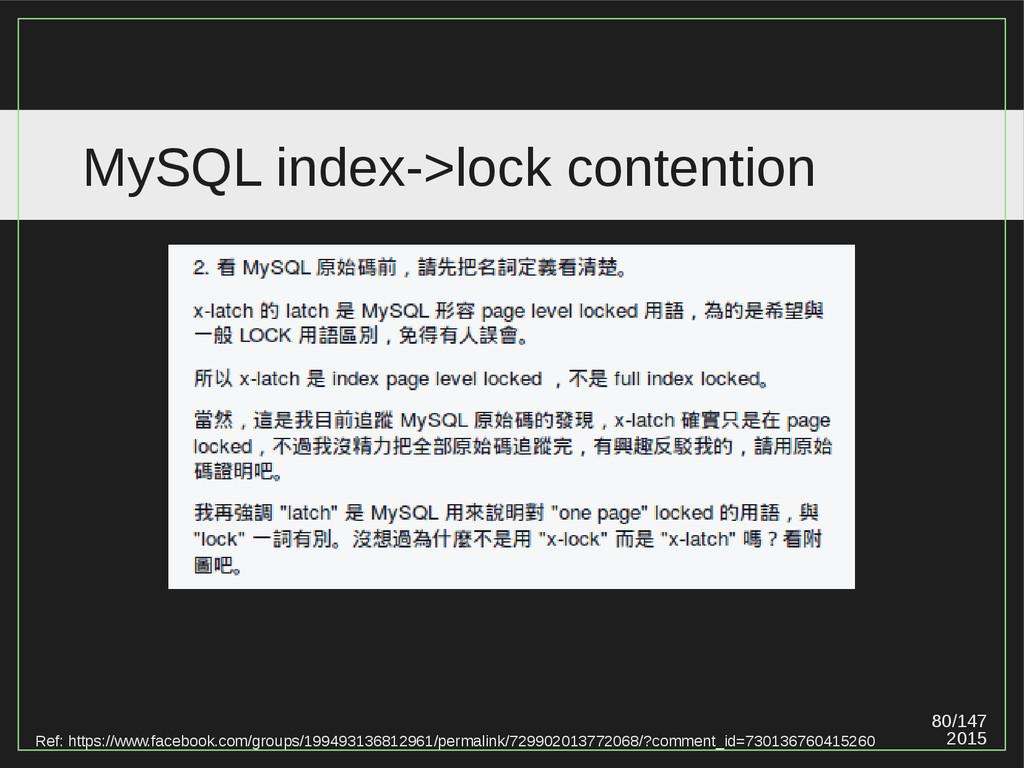 80/147 2015 MySQL index->lock contention Ref: h...