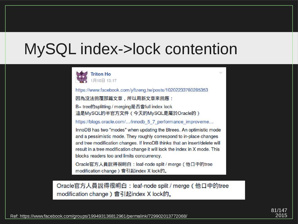 81/147 2015 MySQL index->lock contention Ref: h...