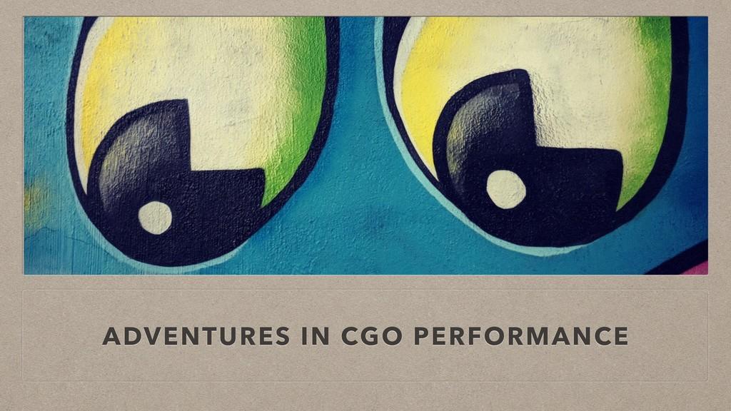 ADVENTURES IN CGO PERFORMANCE