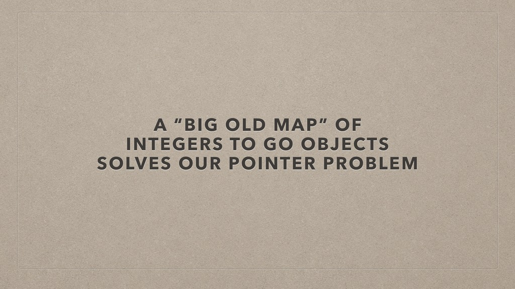 """A """"BIG OLD MAP"""" OF INTEGERS TO GO OBJECTS SOLVE..."""