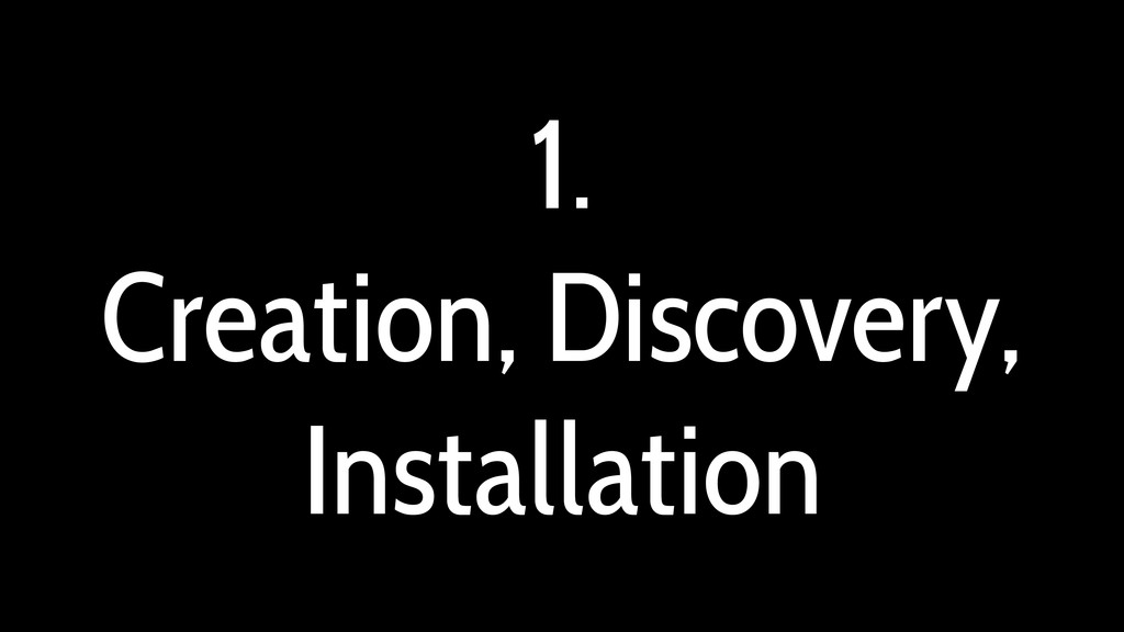 1. Creation, Discovery, Installation