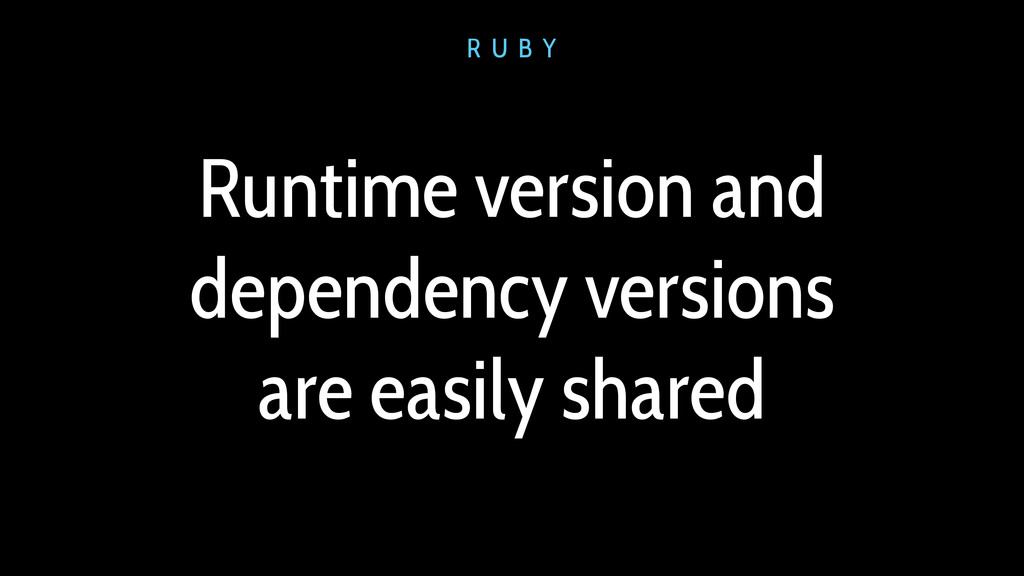 Runtime version and dependency versions are eas...