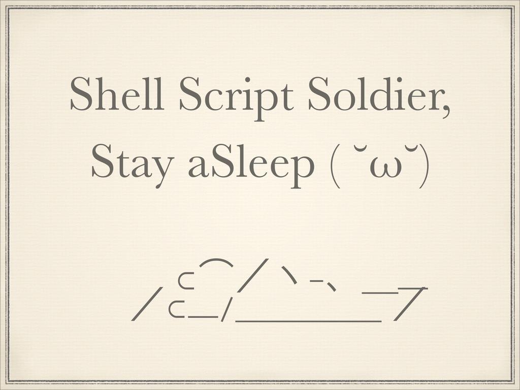 Shell Script Soldier, Stay aSleep ( ˘ω˘) ɹɹ ⊂˶ʗ...