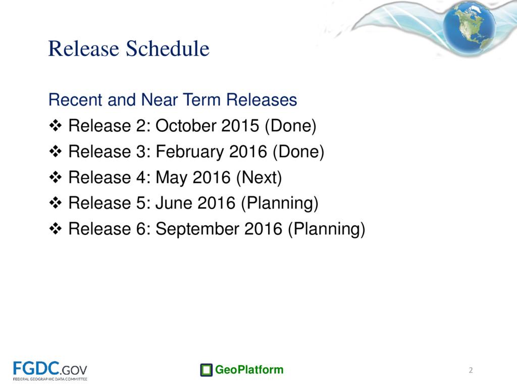 GeoPlatform Release Schedule Recent and Near Te...