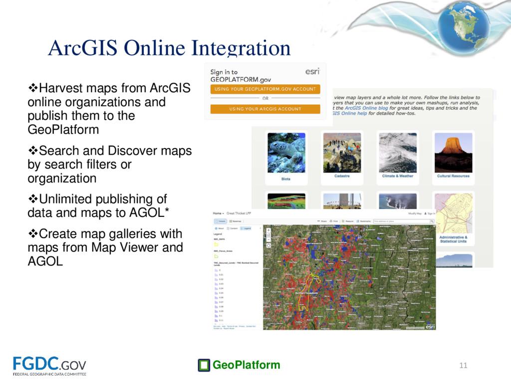 GeoPlatform Harvest maps from ArcGIS online or...