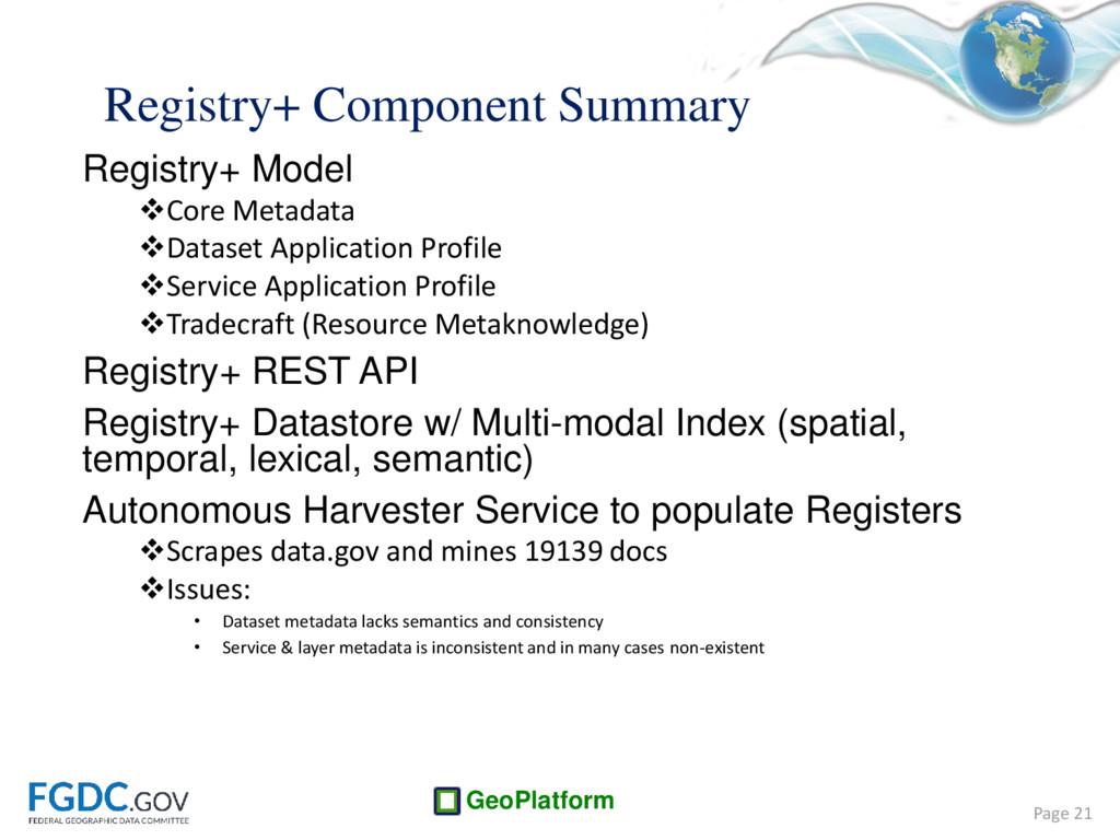 GeoPlatform Registry+ Component Summary Registr...
