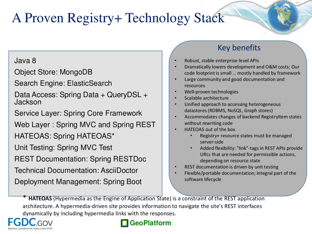 GeoPlatform A Proven Registry+ Technology Stack...