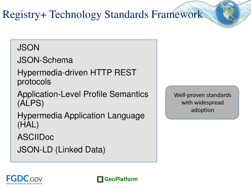 GeoPlatform Registry+ Technology Standards Fram...