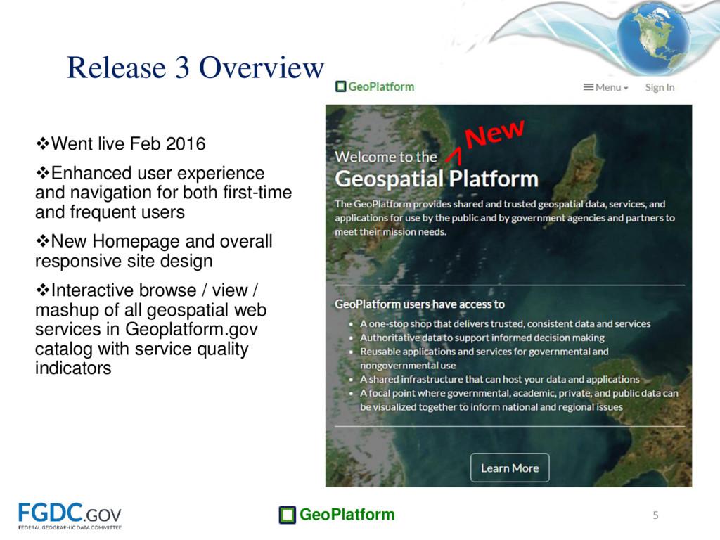 GeoPlatform Went live Feb 2016 Enhanced user ...