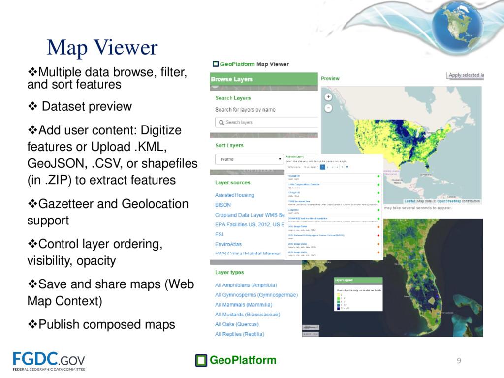 GeoPlatform Multiple data browse, filter, and ...