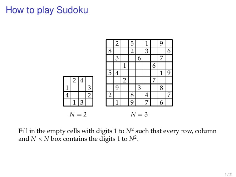 How to play Sudoku N = 2 2 4 1 3 4 2 1 3 N = 3 ...