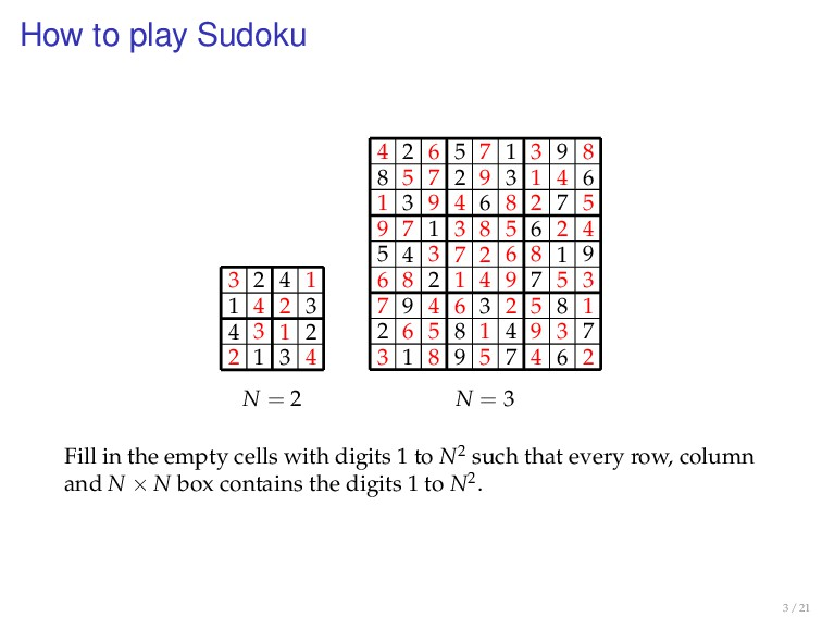 How to play Sudoku N = 2 2 4 1 3 4 2 1 3 3 1 4 ...