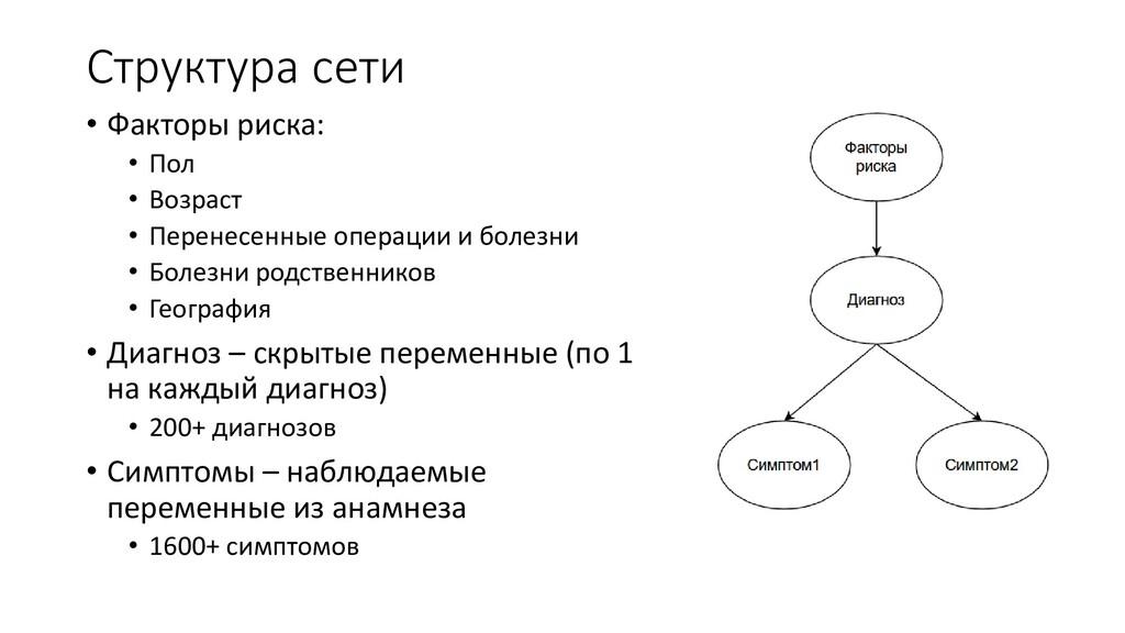 Структура сети • Факторы риска: • Пол • Возраст...