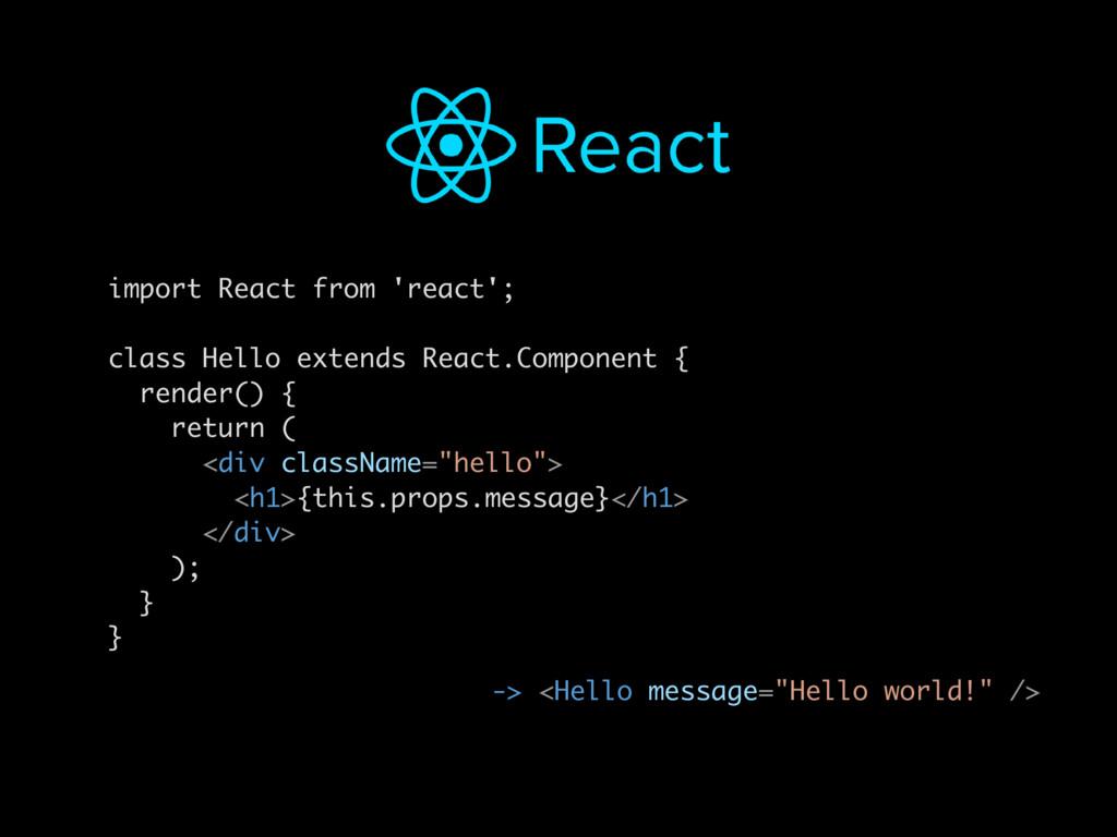 "-> <Hello message=""Hello world!"" /> import Reac..."