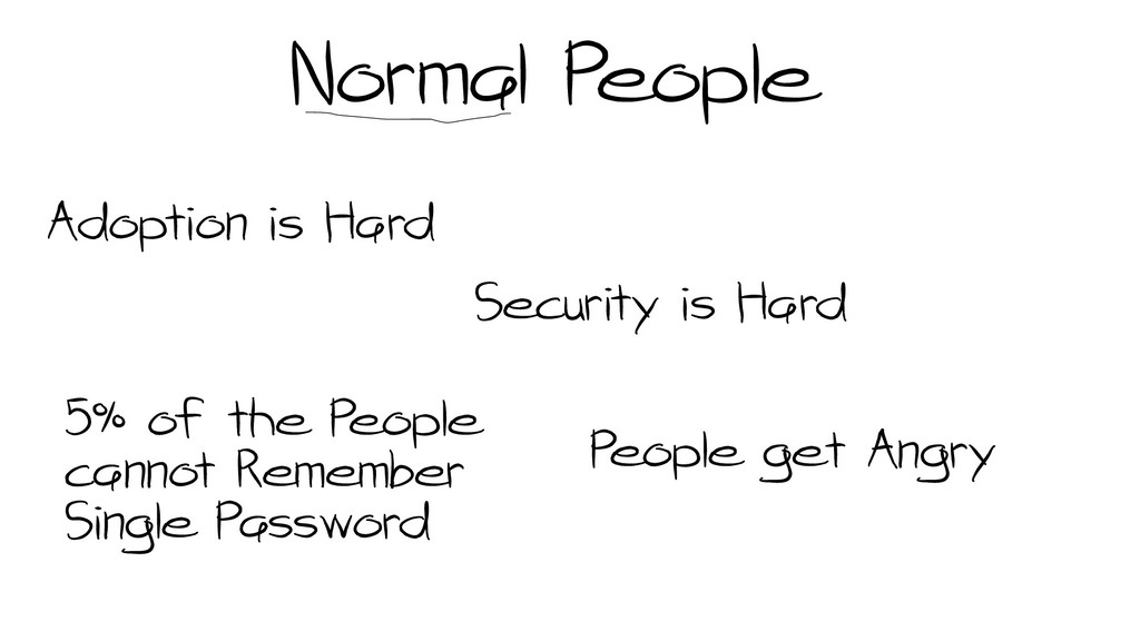 Normal People Adoption is Hard Security is Hard...