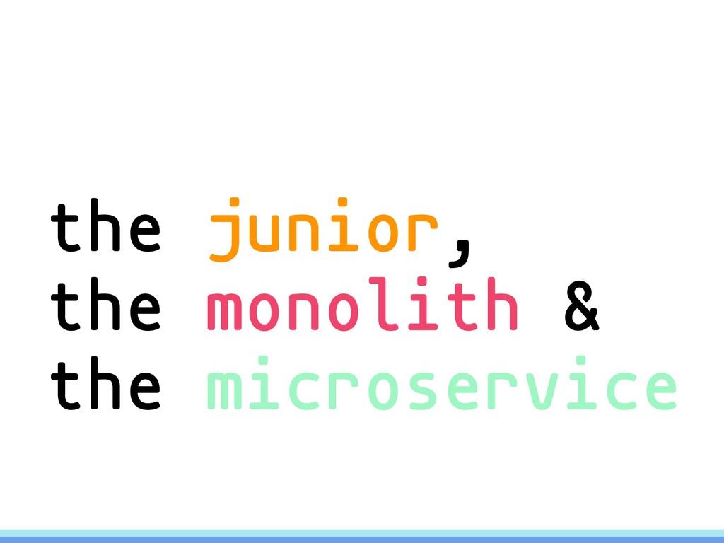 the junior, the monolith & the microservice