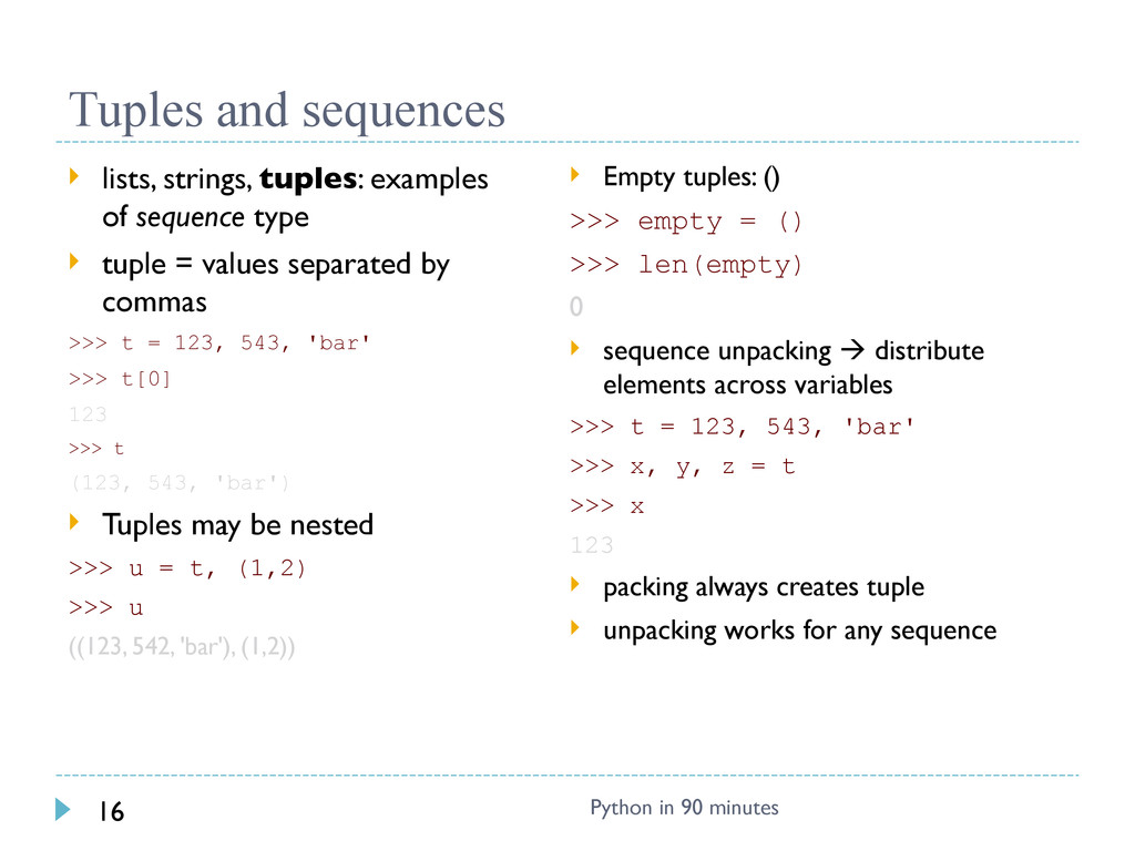 Tuples and sequences  lists, strings, tuples: ...