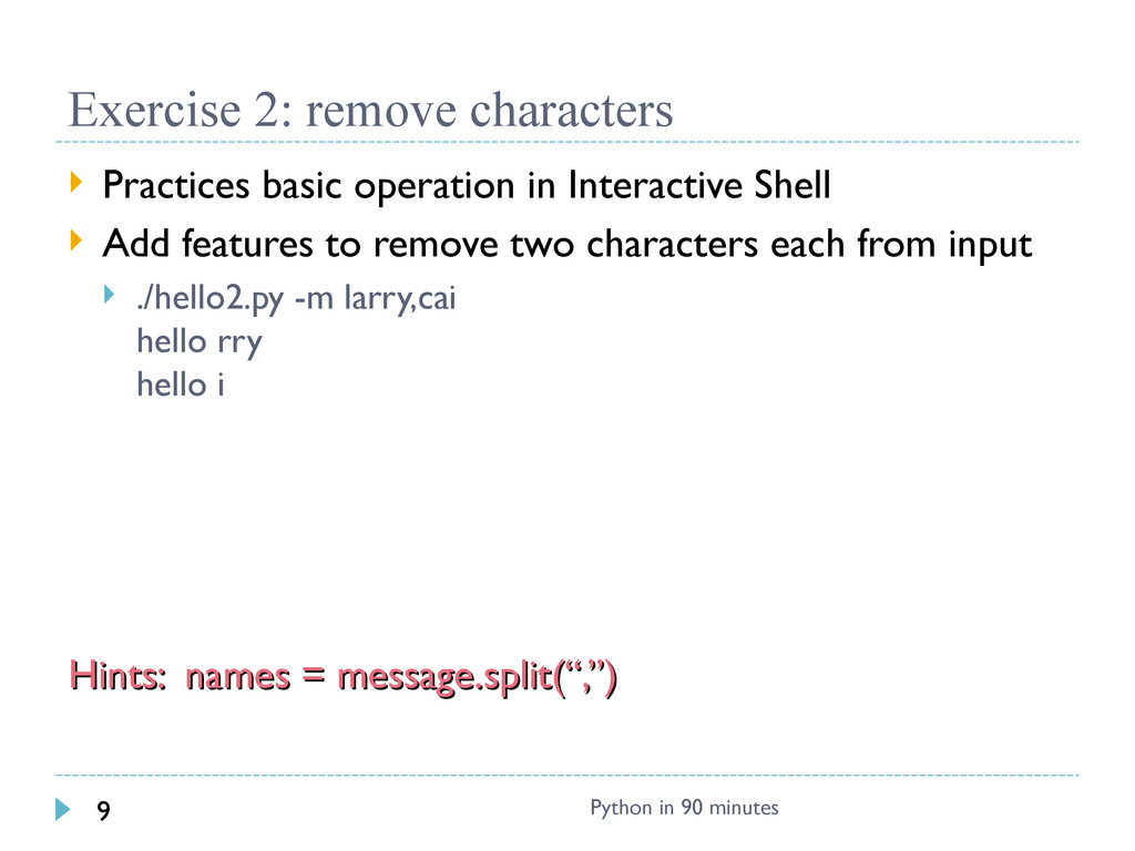 Exercise 2: remove characters  Practices basic...