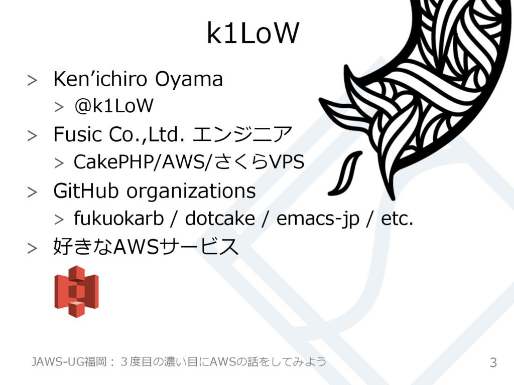 k1LoW  Ken''ichiro Oyama  @k1LoW  Fusic ...