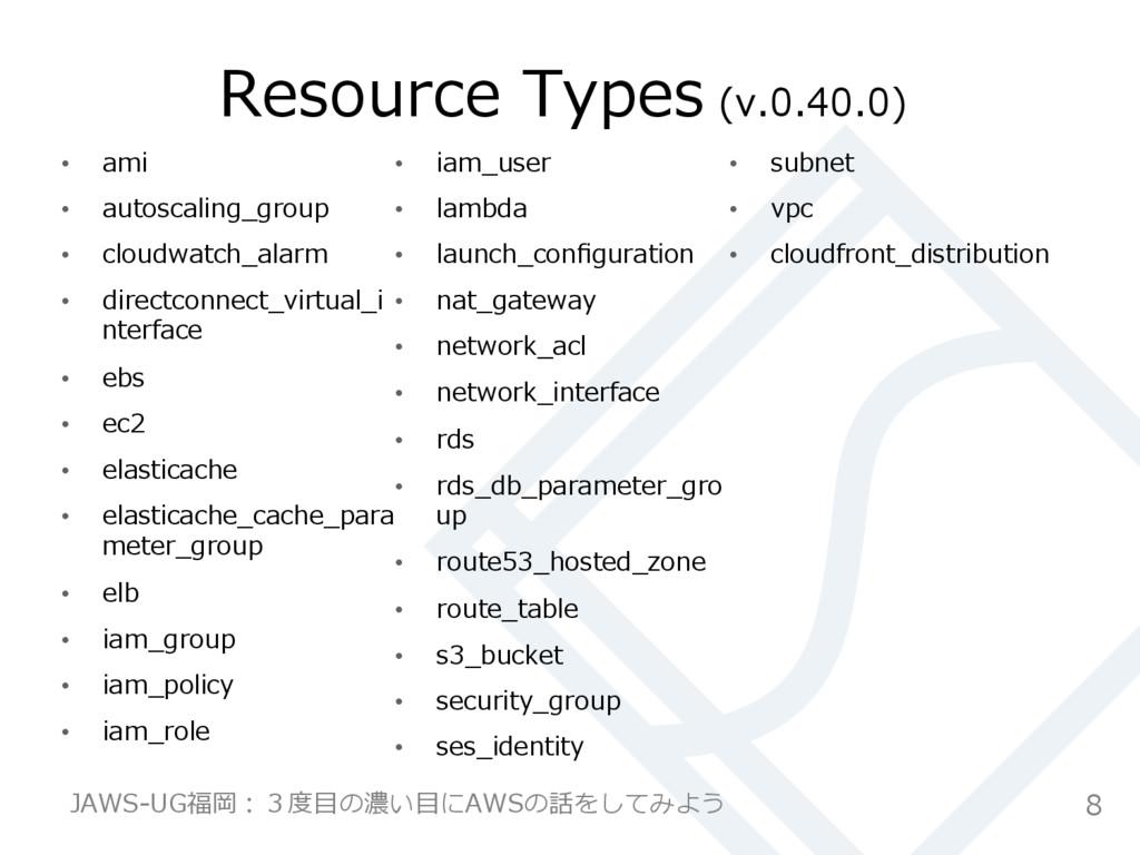 Resource Types (v.0.40.0) • ami • autoscali...