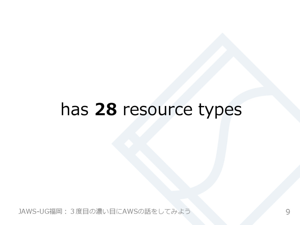 has 28 resource types 9 JAWS-‐‑‒UG福岡:3度度⽬目の濃...