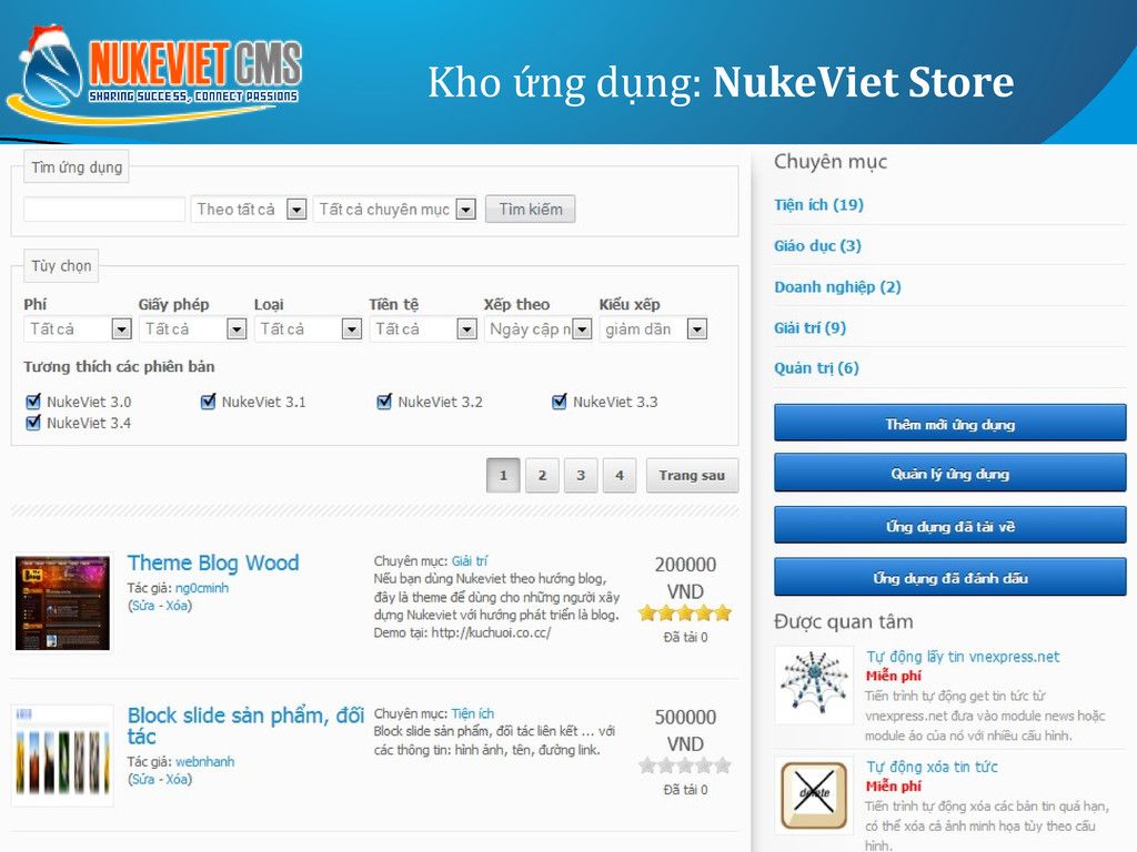 Kho ứng dụng: NukeViet Store