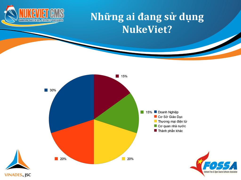 Những ai đang sử dụng NukeViet? 30% 20% 20% 15%...