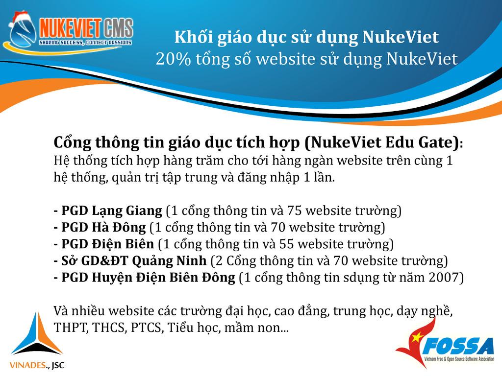 Khối giáo dục sử dụng NukeViet 20% tổng số webs...