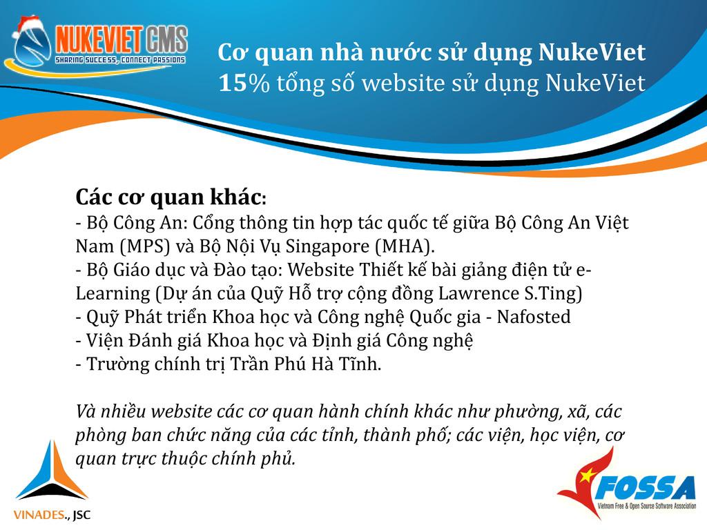 Cơ quan nhà nước sử dụng NukeViet 15% tổng số w...