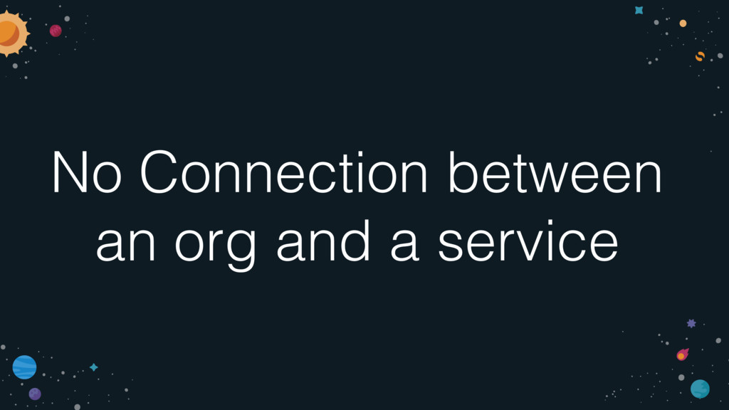 No Connection between an org and a service