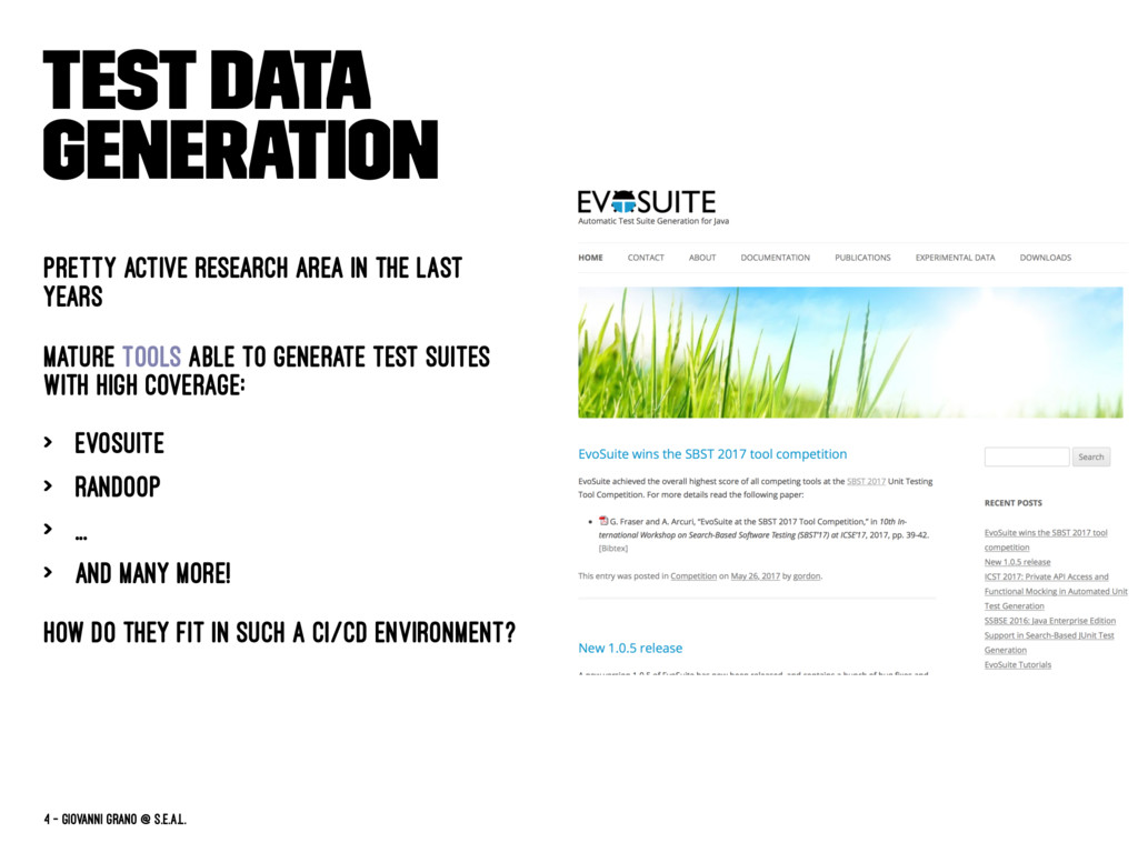 Test Data Generation Pretty active research are...
