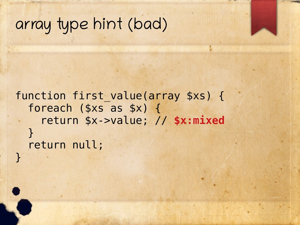 array type hint (bad) function first_value(arra...