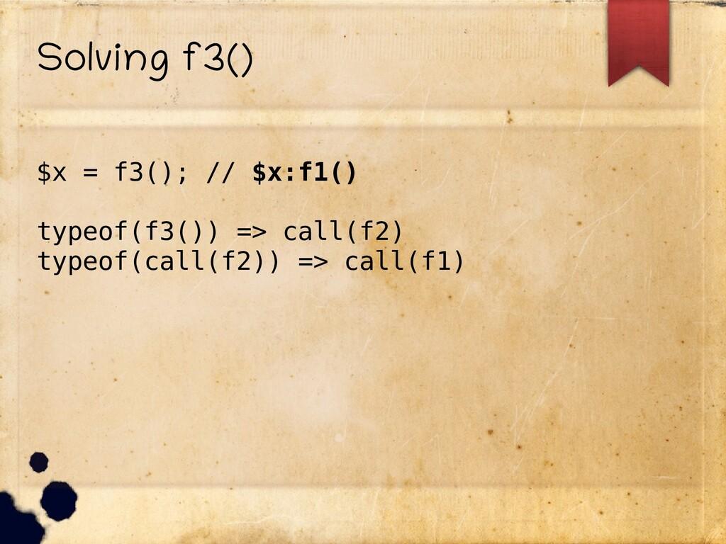 Solving f3() $x = f3(); // $x:f1() typeof(f3())...