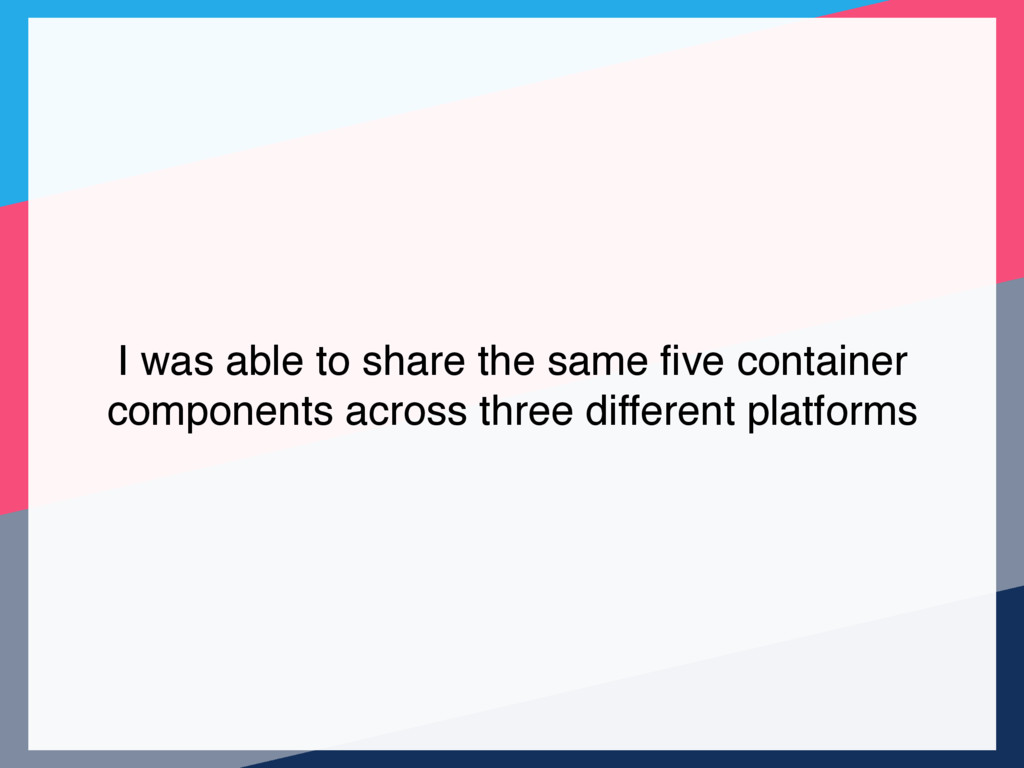 I was able to share the same five container comp...