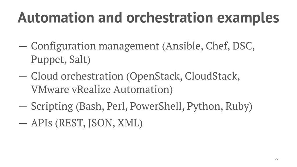 Automation and orchestration examples — Configu...