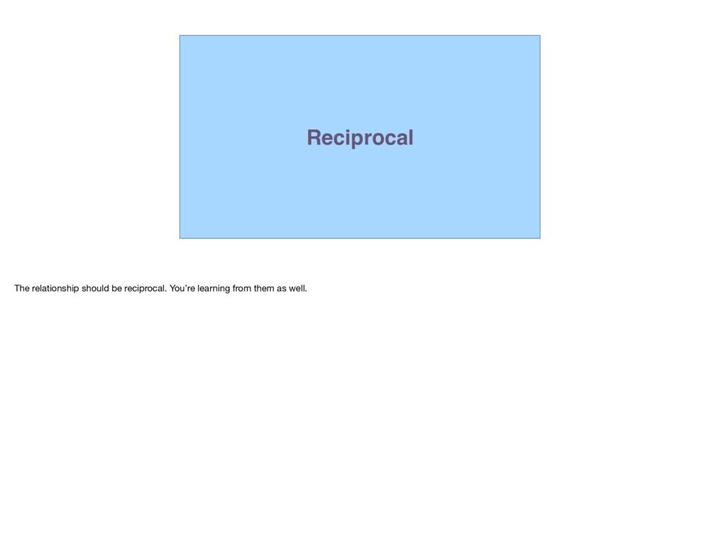 Reciprocal The relationship should be reciproca...