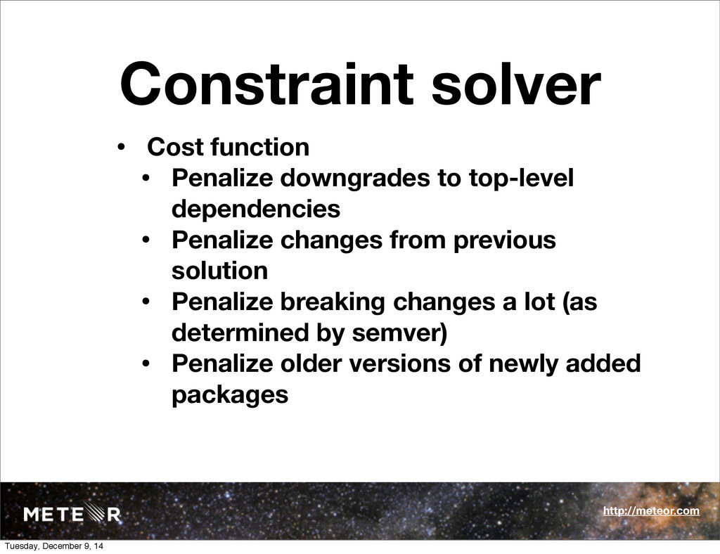 Constraint solver • Cost function • Penalize do...