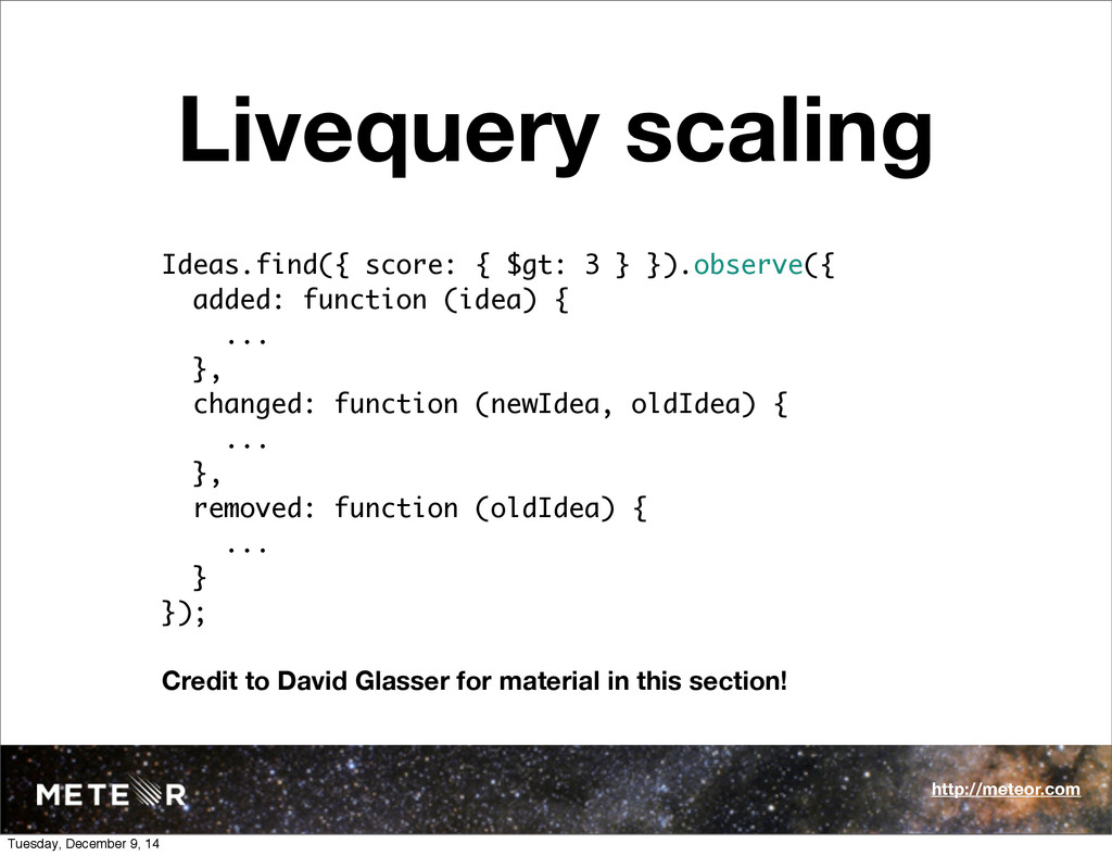 Livequery scaling Ideas.find({ score: { $gt: 3 ...