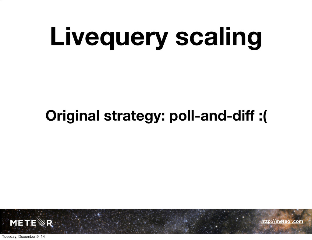 Livequery scaling Original strategy: poll-and-d...